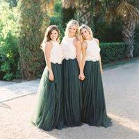 2021 Diseño Dos Piezas Vestidos de dama de honor Joya Cuello Blanco Encaje Top A Line Oscuridad Verde Falda de Tul Falda País Niña de Boda de Vestidos de Honor