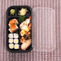 Dupla fileira Split Black Sushi Box Takeaway Embalagem Descartável Sashimi Take Out Recipientes