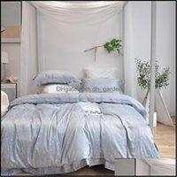 Supplies Textiles Home & Gardensilk Cotton Jacquard Shining Star Bedding Set Embroidery Duvet Er Sets Bed Sheet Pillowcases Queen King Size