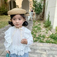 Shirts WLG Girls Short Style Kids Spring Autumn Hollow Lace O-neck Long Sleeve Shirt Baby Girl White Casual All Match Tops