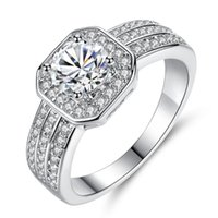 Wedding Rings MOONROCY Silver Color CZ Cubic Zirconia Crystal Ring For Women Girls Promise Jewelry Wholesale Drop Gift