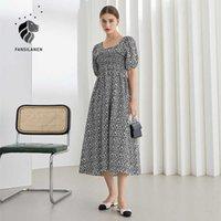 Fansilanen Office Lady Французская Цветочная раунда Шея Платье Женщины Летний Свежий Слованный Рукав Длинная Высокая Талия A-Line Skirt 210607