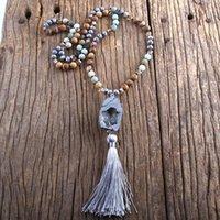 Fashion Bohemian Jewelry Semi Preziosi Pietre annottate Druzy Pietra Nappe Collane per Donne Regalo Lariat Collana Ciondolo