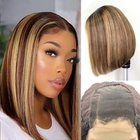 P4 27 Mix Color Lace Front Human Hair Bob Wigs Hand Made 10~14 Inches Straight Wig 4x4 Lace-frontal Perruques De Cheveux Humains RQY4339