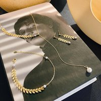 Necklace Version Of The Fashion Wheat Spike Set Earrings Female Personality Gentle Temperament Pearl Women Chains