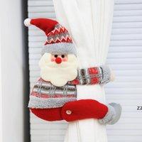Muñeca de dibujos animados Cortina Hebilla Decoración Decoración Muñeco de nieve Santa Elk Ventana Screen Clip Home Decoraciones de Navidad Regalo de Navidad HWD9963