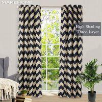 Занавес Drapes Makehome трехслойные ткани Blackout шторы для спальни гостиная W горизонтальные полосы напечатанные жалюзи окна