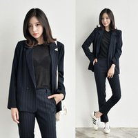 Work Fashion Pant Suits 2 Piece Set For Women Striped Blazer Jacket & Trouser Office Lady Suit Formal Women's Blazers