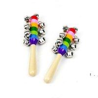 Rattsles Jingle Bells Деревянная палка Новый стиль Rainbow Hand Shake Sound Bell Rattles Baby Образовательная игрушка 18 см BWB6427