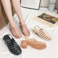 Summer New Roman women's thick transparent crystal sandals middle plastic jelly high heel rain proof shoes