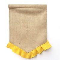 Boş Çuval Bayrağı DIY Jüt Ruffles Bahçe Bayrakları Taşınabilir Boş Afiş Paskalya Bahçe Süslemeleri 14 Renkler DHW321 128 Z2