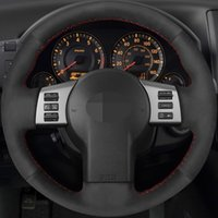 Hand stitched Black Genuine Leather Suede Car Steering Wheel Cover for Nissan 350Z 2003-2009 Infiniti FX FX35 FX45 2003-2008