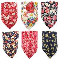 Vêtements de chiens de mode Bandana ins style chat floral chat bavoirs de tête foulard fleur imprimé chiens cordonniers accessoires pour animaux de compagnie