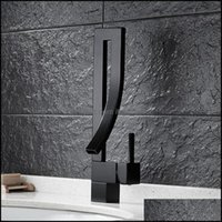 Faucets, Showers As Home & Gardenpc Creative Copper Black Modern Art Style Bathroom Sink Faucet Single-Handle Waterfall And Cold Hardware Fa
