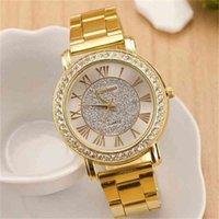 Designer Luxus Marke Uhren Berühmte Gold Arenarme Strass Casual Quarz Frauen Full Steel ES Relogio Feminino
