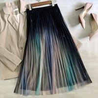 Fashon Summer Bright Silk Rainbow degradado Malsh Falda para mujer Cintura alta Plisada Pliegon Longitud media A-Line 210420