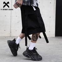 Shorts masculinos 11 bybb são grandes bolsos fitas fitas de carga homens homens funcionais streetwear joelho de verão comprimento techwear calças curtas