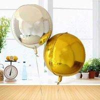 Décoration de fête 2pcs 4D Feuille ronde Ballons 22inch Hélium Globos Helium Globos métallique Ballon Mariage Décor Anniversaire S Fournitures de Noël Bbqn