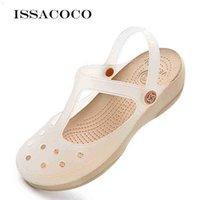 Sommer Damen Schuhe Footwear Plattform Flache Keile Sandalen Dame Für Mädchen Transparente Gelee Strand Schuhe Sanitärverschlüsse Frau 210619 76xp