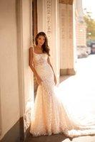Milla Nova Mermaid Wedding Dresses Strap Sleeveless Appliques Beads Lace Sheath Wedding Dress Sweep Train Bridal Gowns