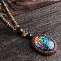 Anhänger Halsketten Design Mode Pfau Feder Ethnische Halskette, Nepal Schmuck Handgemachte Sandelholz Lange Pullover Vintage Halskette,