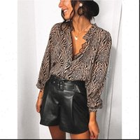 Ladys Zebra Printed Fashion Women Shirts Sexy V Neck Long Sleeve Loose Casual Pullover Tops Office Lady