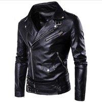 Größe M-5XL Mode Punk Männer Slim Revers Slanting-Reißverschluss Lederjacke Mann Mantel Mantel Hohe Qualität Schwarz D101