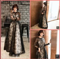 2021 Vestido De Festa black champagne lace a line prom dresses floor length modest long sleeve elegant party dress formal muslim women gorgeous evening gowns