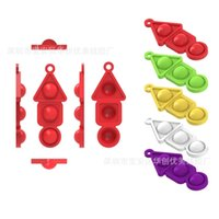 Candy colors Christmas Children's Push Poppers Key Chain Bubbles Fidget Decompression Squid Game triangle Round Square Toy Pops keyrings Pandents G04B489