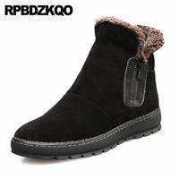 Chaussures de snowboot de la cheville hiver australien fermeture éclair haut haut top botties super chaudes bottes de style russe style russe neige pleine grain homme fourrure t6yp #