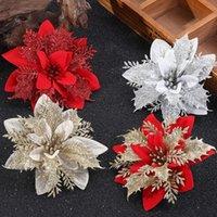Artificial Christmas Flowers Glitter Fake Flower Merry Christma Tree Decoration Home DIY Xmas Gifts Ornament Navidad 2022