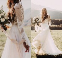 2021 Bohemian Country Wedding Dresses With Sheer Long Sleeves Bateau Neck A Line Lace Applique Chiffon Boho Bridal Gowns Cheap