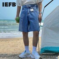 Men's Shorts IEFB Summer Niche Design With Belt Denim Korean High Waist Loose Knee Length Pants Causal 9Y7410