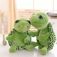 Commercio all'ingrosso 20 cm animali imbottiti super verde grandi occhi tartaruga tartaruga animale bambini bambino compleanno Natale giocattolo regalo DWF7181