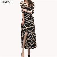 CINESSD Long Maxi Dress Women Autumn Stripe V-neck Seven-Quarter Sleeve Waist Wrapped Beach Loose Vestidos Plus Size 210530