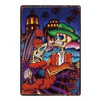 砂糖スカルメタルサインぼろぼろのシックなメキシコ祭りの日壁のポスターバーのタトゥーショップアートホーム装飾DU-3239A Q0723