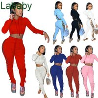 Women Tracksuits Designer Two Piece Set Slim Sexy Hollow Out Hoodies Bandage Jacket Contrast Splicing Strap Coat Sweatpants Outfits S-XXL
