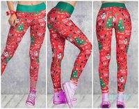 Toptan-Kadın Noel 3D Baskılı Karikatür Tayt Kız Sıkı Sıska Elastik Taytlar Spor Noel Pantolon Spor Yoga Pantolon Pantolon