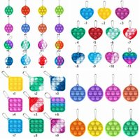 Simples Dimple Pop It Keychain Festa Favor Sensory Kid Fidget Brinquedo Anti Stress Push Bubble Chaveiro Pingente Cyz3038