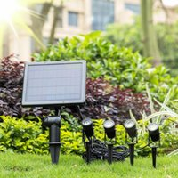 Solar Lamps One For Four LED Lights Outdoor Waterproof Lighting Gardening Underground Spotlight 3 Meter Long Lawn Control