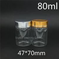 저장 병 항아리 10pcs / lot 80ml 스크류 넥 유리 병 식초 또는 알코올, 잉어 / 저장 캔디, 액체 화장품, 주류
