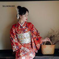 Casual Kleider 2021 Sellworlder Retro Japanischer Kimono-Stil Yukata Mädchen Rotes Kleid Frau Blume Blüte Drucken Lange mit Handtasche