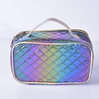 DHL Cosmetic Bags Women PU Laser Colorful Large Capacity Waterproof Wash Bag Mix Color