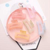 Прозрачные аксессуары для волос Claw Clips Jelly Color Hairpin Большая квадратная форма челюсти клип девочек летняя пластиковая мода