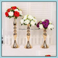 Holders Décor & Gardenwedding Candle Holder 32 38 50Cm Sier Gold Candlestick Home Decoration Ornaments Road Lead Main Table Vase Flower Arra