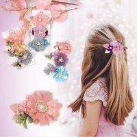 어린이 시뮬레이션 꽃 머리핀 달콤한 여자 꽃 진주 공주님 배마 귀여운 꽃 측면 클립 머리카락 액세서리 S1164