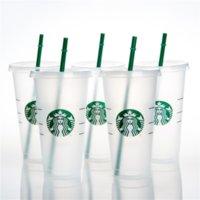 24oz / 710ml Starbucks 플라스틱 찻잔 텀블러 재사용 가능한 명확한 마시는 평면 컵 기둥 모양 뚜껑 밀짚 DHL FY4758