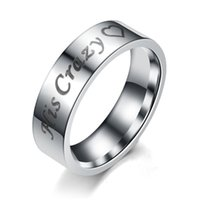 Wedding Rings Fashion Simple Couple Heart Romantic Letter Bands Engagement Gift Charms Jewelry Accessories Stainless Steel