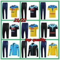 2021 SSC 나폴리 성인 유니폼 Tracksuit 짧은 소매 세트 스페셜 에디션 나폴리 축구 훈련 정장 자켓 21 22 Mens Surveetement 3/4 자른 바지 축구 키트