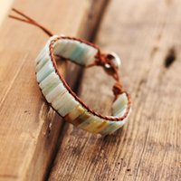 Tennis Boho Cylinder Bead Wrap Bracelet Made Of Real Leather Wicker Natural Stone Adventure Jewelry Drop